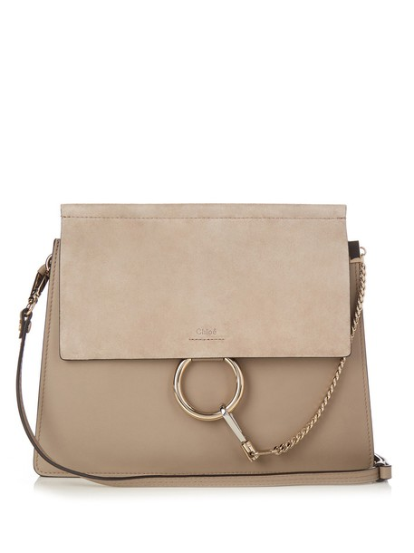 Chloe bag shoulder bag leather suede light grey