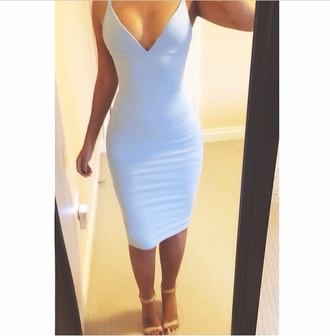 dress white dress deep v neck dress plunge v neck plunge neckline plunge dress white plunge neck dress midi dress bodycon dress