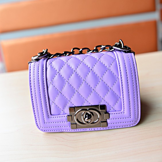 Fashion Women Solid Hasp Purple PU Shoulder Bag_Messenger&Crossbody_Bags_Cheap Clothes,Cheap Shoes Online,Wholesale Shoes,Clothing On lovelywholesale.com - LovelyWholesale.com