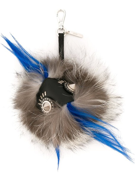 Fendi bag charm fur fox women bag grey