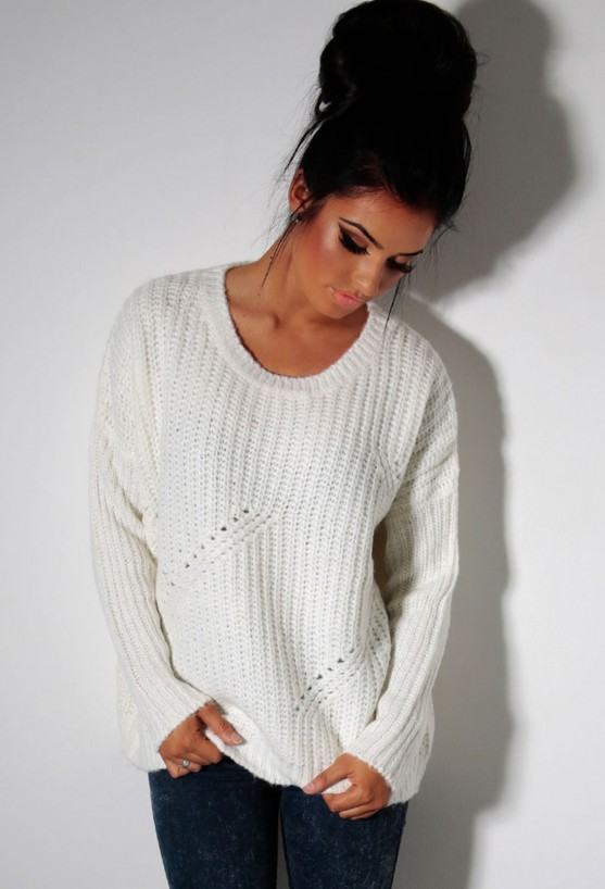 Ozone cream thick cable knit jumper