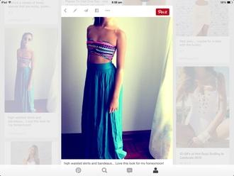 skirt crop tops crop aztec crop top maxi skirt purple/green maxi dress top