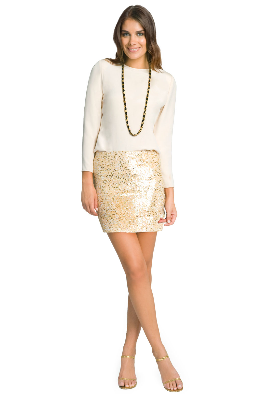 Glam Nude Sequin Skirt by Haute Hippie at $50 | Rent The Runway