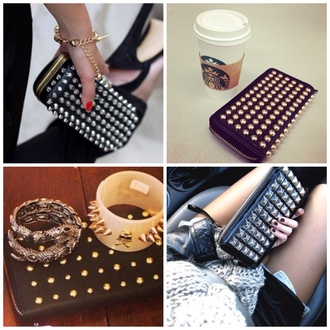 bag studded studded purse studded bag studded wallet style black gold gorgeous trendy edgy stylish feminine classy chic girly exact black bag black purse black wallet metal metallic studs fashion beautiful