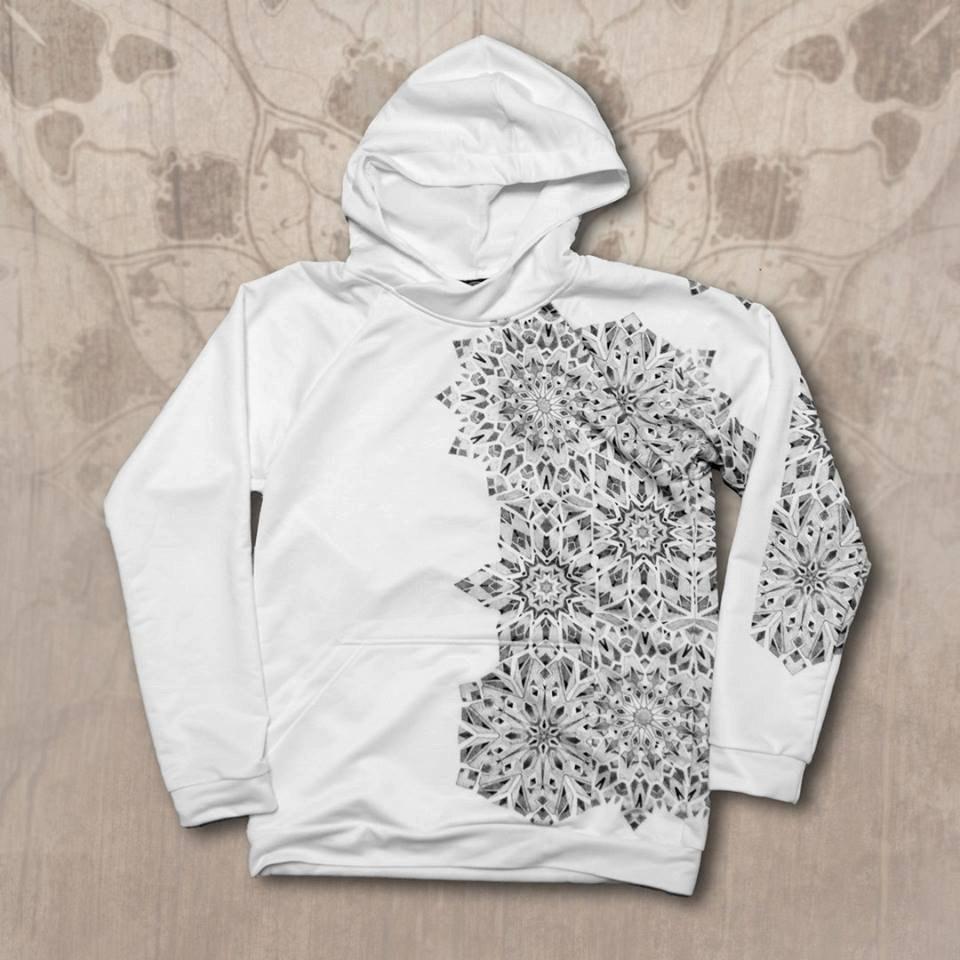 Hoodie with geometric mandalas design