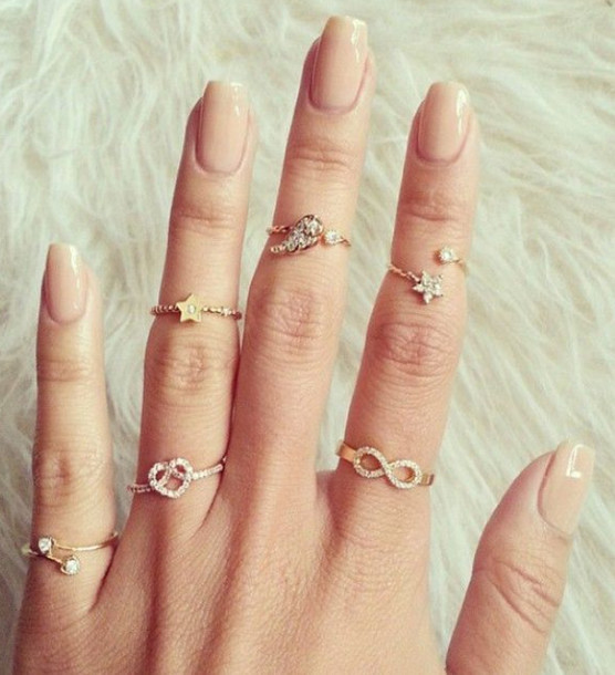 Jewels: ring, gold mid finger rings, jewelry, gold, gold ...