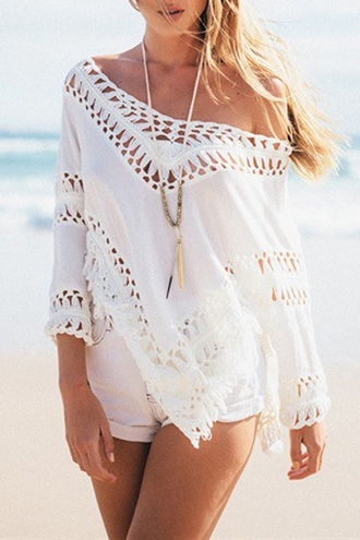 dress crochet lace white cover up beach summer summer outfits zaful boho boho chic blouse white blouse crochet blouse casual off the shoulder sexy streetwear summer top trendy fringes oversized loose shirt