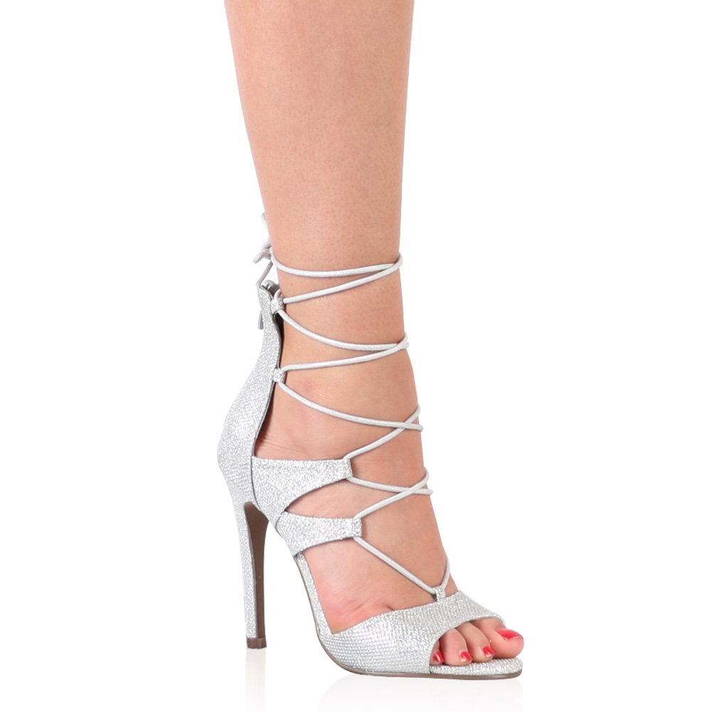 Lace Up Heels in Silver Shimmer