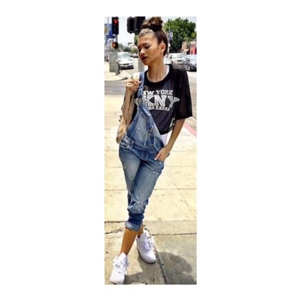 top zendaya zendaya dungarees denim overalls denim white nikes nike sneakers nike hipster fashion jumpsuit bag shoes