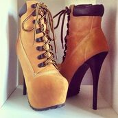 shoes,high heels,timberlands,ankle boots,cutesyoriginals,lace up boots,boots,wheat