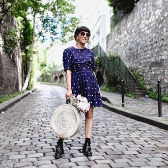 dress tumblr polka dots mini dress short sleeve dress bag round tote tote bag boots black boots ankle boots round sunglasses sunglasses shoes