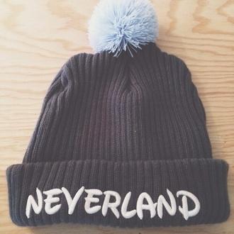 belt bonnet pom pom beanie hat blue beanie neverland disney peter pan peterpan disney hat