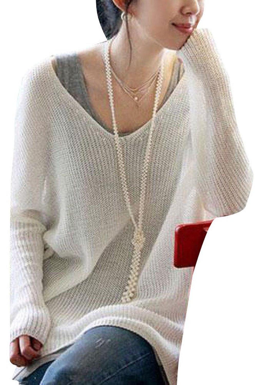 f140ab1ae035 Women V-Neck Long Sleeve Oversized Batwing Knit Sweater Loose ...