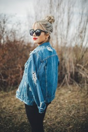 jacket,tumblr,blue jacket,denim jacket,denim,ripped,sunglasses,black sunglasses,hair,blonde hair,hair bun,hairstyles,red lipstick,lipstick