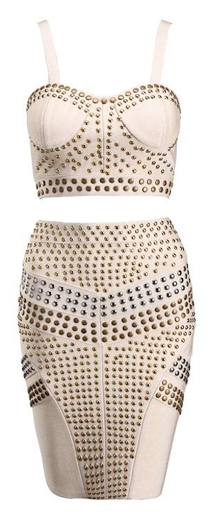 Mirida 2 piece studded celebrity bandage dress