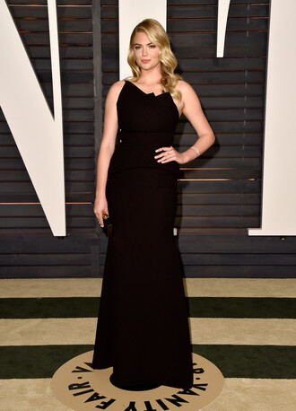 dress one shoulder gown black kate upton oscars 2015 red carpet dress