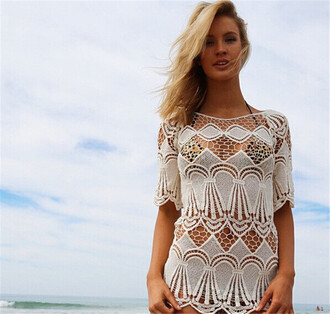 dress crochet lace dress white see through beach style