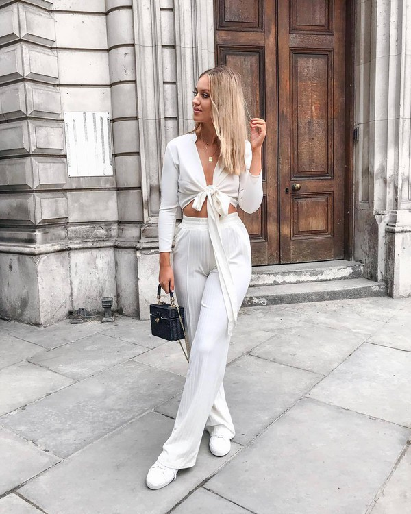 buy best great deals 2017 latest design Mango wide leg tailored trouser in white at asos.com