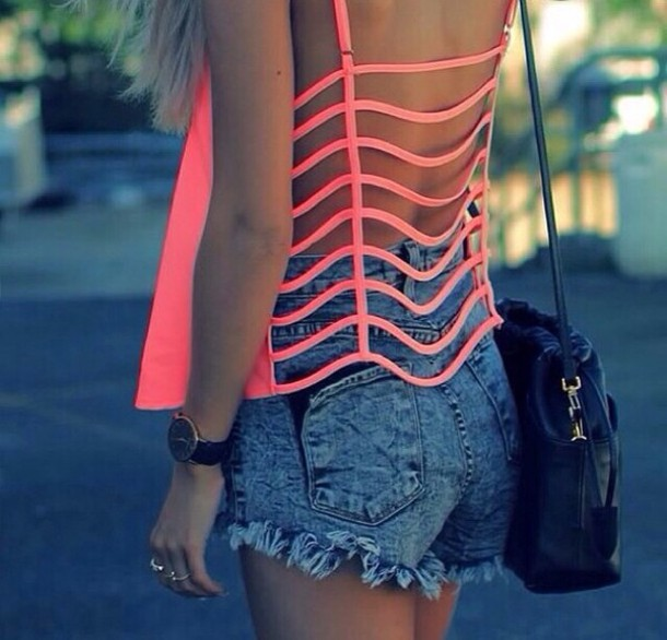 Tank top: shirt, shorts, top, t-shirt, neon, cut-out, pink, open ...