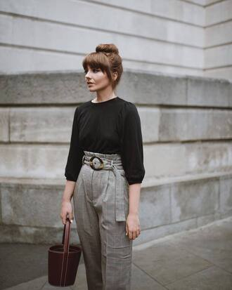 pants plaid plaid pants top black top bag handbag high waisted pants
