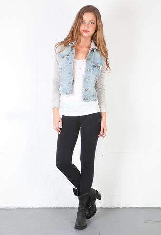cute jacket contrast jacket constrast denim and grey denim vest contrast sleeves grey denim vest with grey sleeves/hoodie in love