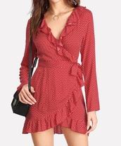 dress,girly,red dress,red,polka dots,polka dots dress,wrap dress,long sleeves