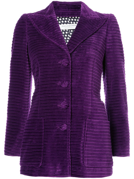 Philosophy di Lorenzo Serafini blazer women cotton velvet purple pink jacket