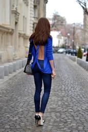 my silk fairytale,blouse,jeans,shoes,bag,skirt,jewels,t-shirt,blue shirt,open back,sexy,top