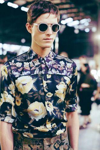 t-shirt menswear floral flowers guys sunglasses dries van noten shirt
