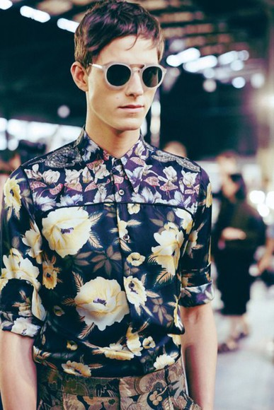 boys t-shirt sunglasses menswear floral flower dries van noten