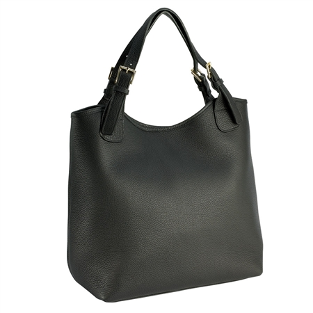 Black Olivia Shopper | Pebble Grain  Leather | GiGi New York