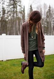 sweater,clothes,t-shirt,cardigan,oversized cardigan,fall outfits,cute top,fall sweater,fashion,love,chilly,omg so cute,brunnette,indian boots,boots,nature,beige cardigan,brown,tan,burgundy,tumblr,knitted cardigan,shoes,grunge,cute,green,cute boots,comfy,buttons