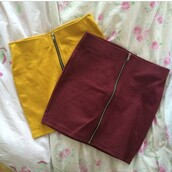 skirt,mini,tube,tube skirt,zip,zipped skirt,tight,summer,yellow,burgundy,mustard,yellow skirt,red skirt,red,burgundy red,style,fashion,heels,platform shoes,tumblr,cool,summer outfits,bordeaux red wine,burgundy skirt
