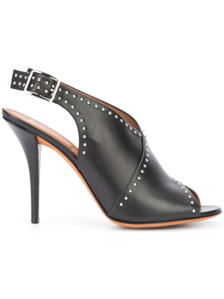 Givenchy studded women sandals leather black shoes