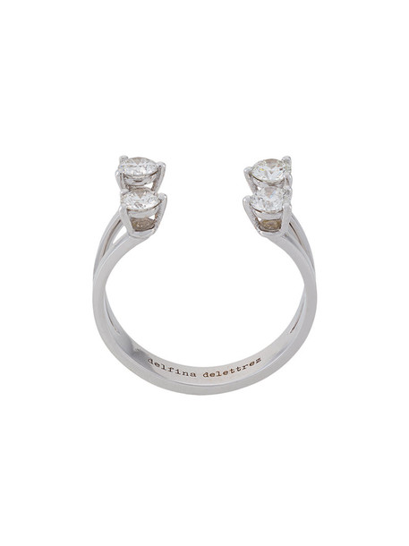 Delfina Delettrez diamond ring women ring gold grey metallic jewels