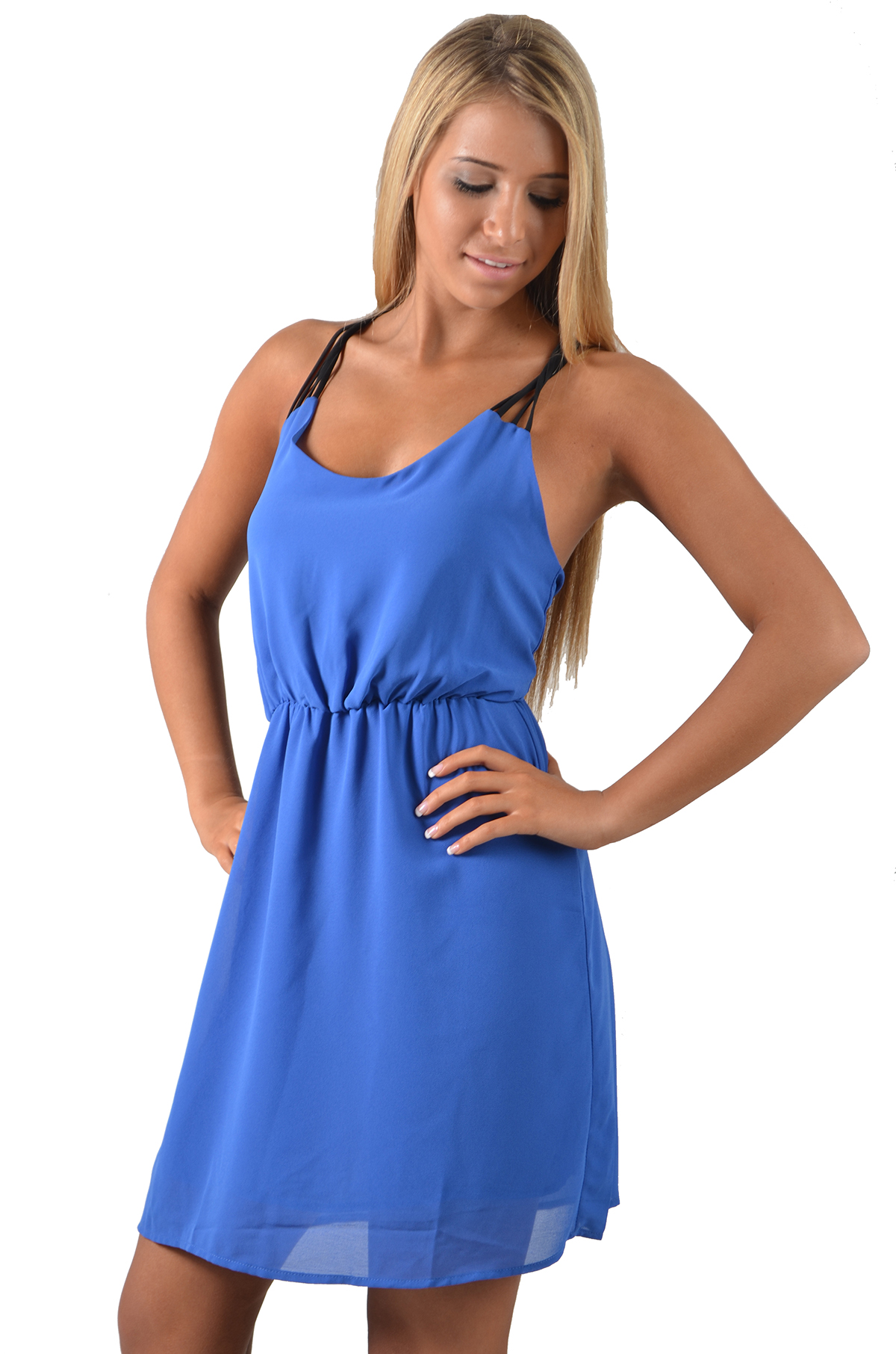 Day Dress - Periwinkle Day Dress with Stringy | UsTrendy