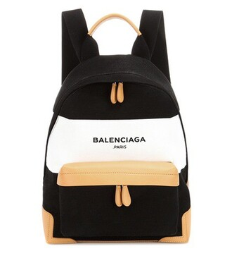 backpack canvas backpack leather navy black bag