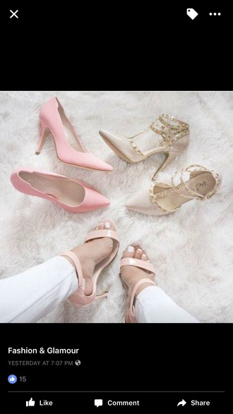 shoes heels pink nude