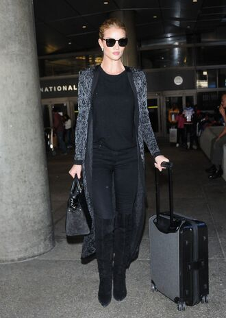 coat rosie huntington-whiteley model off-duty top pants all black everything