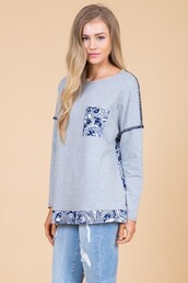 top,grey,navy,paisley,contrast shirt,pockets