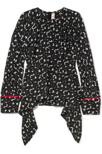 blouse black silk top