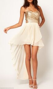 dress,gold sequins,gold,pink,white,high-low dresses,party dress,bustier dress