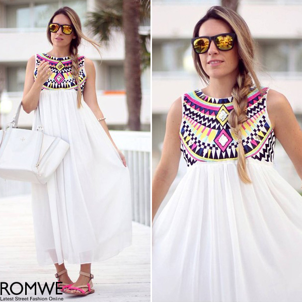 ROMWE | Tribal Print Diamante White Longling Dress, The Latest Street Fashion