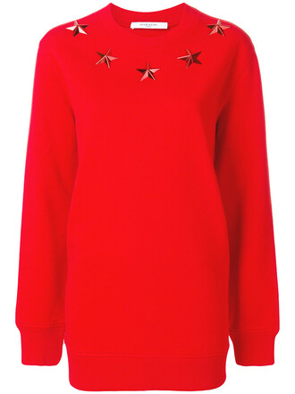 sweatshirt embroidered women cotton red sweater