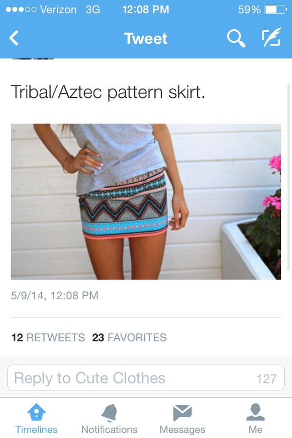 skirt aztec tribal pattern