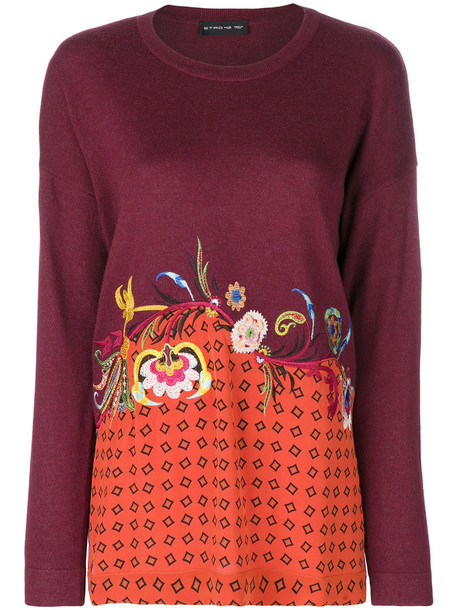 ETRO sweater embroidered women floral silk wool red
