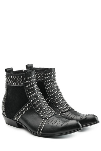 leather ankle boots embellished boots ankle boots leather silver shoes