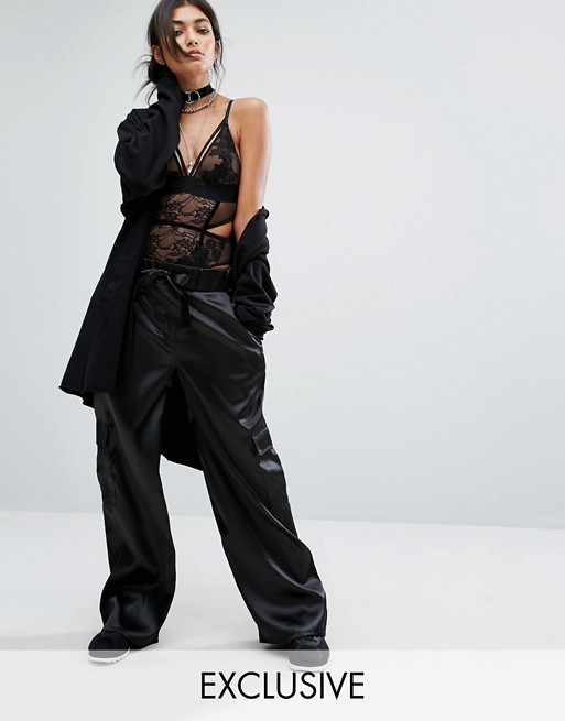 Bones Satin Wide Leg Cargo Pants at asos.com