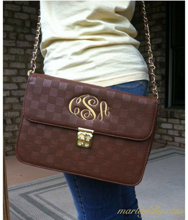 bag brown cute monogrammed crossbody bag crossbody bag gold detail girly reallycute purse jewels