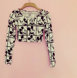 shirt mouse black and white crop tops crop disney mickey mouse clothes white blouse